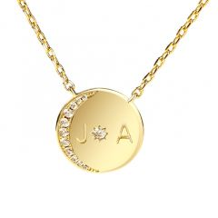 """Jeulia """"Moon and Sun"""" Personalized Sterling Silver Necklace"""