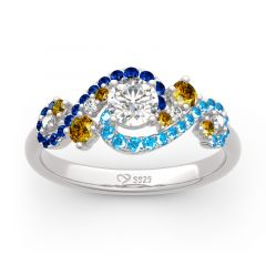 """Jeulia """"The Starry Night"""" Round Cut Sterling Silver Ring"""
