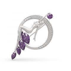 """Jeulia """"Journey Under The Sea"""" Marquise Cut Sterling Silver Brooch"""