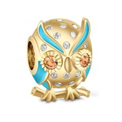 Gold Tone Owlet Charm Sterling Silver