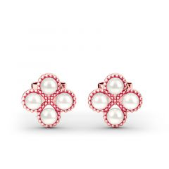 Jeulia Clover Cultured Pearl Sterling Silver Stud Earrings