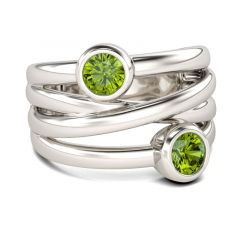 Jeulia  Two Stone Crossover Sterling Silver Cocktail Ring