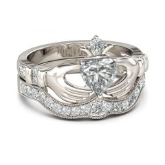 Jeulia Simple Crown Claddagh Sterling Silver Ring Set