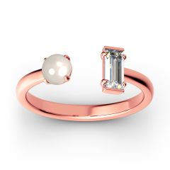 Jeulia Cultured Pearl Sterling Silver Open Ring