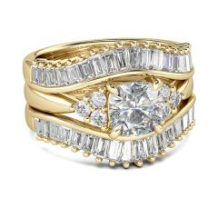Jeulia  Gold Tone Cushion Cut Sterling Silver 3PC Ring Set