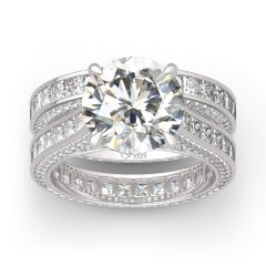Jeulia Round Cut Three Sided Pave Sterling Silver Eternity Ring Set