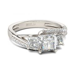 Jeulia Three Stone Princess Cut Sterling Silver Ring